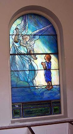 Thomas Episcopal Garrison Forest Location: Owings Mills, Maryland Glass Installation Date: 2005 Scope of Project: Historic Restoration of 3 LaFarge windows and 1 Tiffany restoration by Willet Hauser Architectural Glass Stained Glass Church, Stained Glass Angel, Stained Glass Paint, Stained Glass Windows, Miguel Angel, Mosaic Glass, Glass Art, Art Nouveau, I Believe In Angels