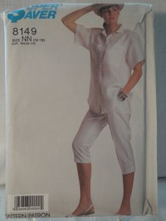 Simplicity 8149 Miss 10 12 14 16 18 Easy To Sew Pants Big Shirt 1987 - pinned by pin4etsy.com