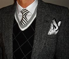 Harris Tweed jacket, black white accessories (although I can't tolerate sweaters, I love this ensemble) Dressed To The Nines, Sharp Dressed Man, Well Dressed Men, Harris Tweed Jacket, Just For Men, Couture, Gentleman Style, My Guy, Stylish Men