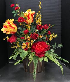 Red and Gold Butterfly Arrangement by Andrea