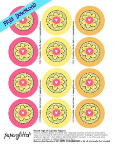 Free Printable, Party Printable, Kawaii, Paper Crafts, Kids Crafts, Stationery, Printable: FREE: Flower Round Tags or Cupcake toppers