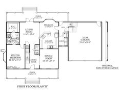 1000 images about 1 1 2 story house plans on pinterest for One story house plans with bonus room above garage
