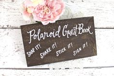 Polaroid Guest Book Wooden Wedding Sign  Rustic
