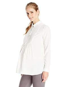 Ripe Maternity Womens Maternity Pintuck Woven Yoke Work Shirt Ivory Medium *** You can find out more details at the link of the image.Note:It is affiliate link to Amazon. #love