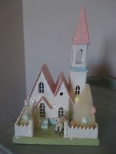 Bethany Lowe Easter Church Putz House Pressed Paper Bottle Brush Trees Lamb