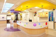 Renown Children's Hospital patient floor nurses station with aquarium, Reno, NV. Fun and colorful Kindergarten Interior, Kindergarten Design, Medical Office Design, Children's Clinic, School Building Design, Daycare Design, Hospital Design, Clinic Design, Product Design