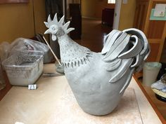 Rooster Rooster – Famous Last Words Clay Birds, Ceramic Birds, Ceramic Animals, Clay Animals, Ceramic Clay, Hand Built Pottery, Slab Pottery, Ceramic Pottery, Pottery Art