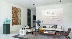 Living Room in Brussels- chairs are by Eileen Gray, left, and Mies van der Rohe, and the sofa is a design by Jules Wabbes. Living Room Art, Home And Living, Living Spaces, Cubes, Modern Family, Modern Living, Minimalist Living, Elle Decor, Interiores Design