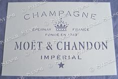 French Moet Champagne MC A5 STENCIL Vintage Chic Wine, Furniture, Wood, Fabric
