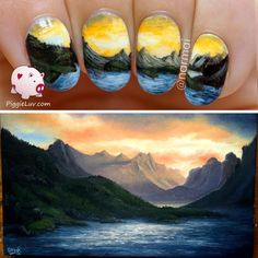 PiggieLuv: Freehand mountain landscape nail art
