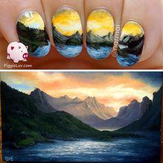 PiggieLuv: Freehand mountain landscape nail art