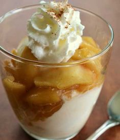 Apple Rum Ice Cream Topping by Eileen Desserts In A Glass, Fall Desserts, Just Desserts, Delicious Desserts, Yummy Food, Apple Ice Cream, Snack Recipes, Dessert Recipes, Dessert Ideas