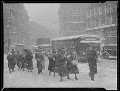 Snow storm in Boston. 1936