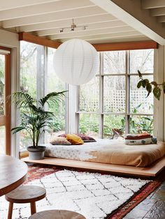 casual boho modern open plan living room with tons of natural light | coco kelley