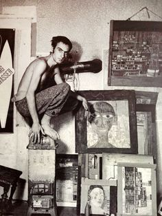 Friedensreich Hundertwasser (1928-2000) in his studio