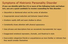 attention seeking behavior in adults | Histrionic Personality Disorder