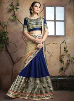 Tantalizing Navy Blue And Cream Sequins Work Georgette Half And Half Designer Sarees