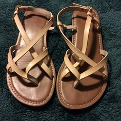 SO strappy Sandals 7 SO brand sandals. Hardly used. Size 7.  These are a light tan, cream color. Leather straps. Shoes Sandals