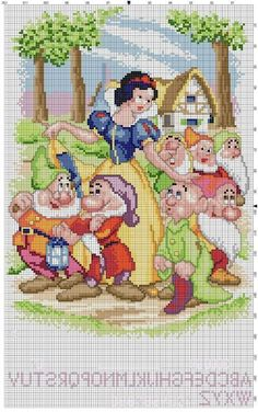 snow white and the seven dwarfs cross stich motif with pattern from picasaweb. Disney Cross Stitch Patterns, Cross Stitch For Kids, Cross Stitch Baby, Cross Stitch Charts, Cross Stitch Designs, Beaded Cross Stitch, Cross Stitch Embroidery, Embroidery Patterns, Disney Stich