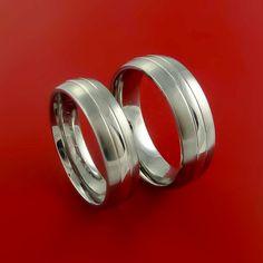Platinum and Titanium Matching Ring Wedding Band Set Sizes 3-22