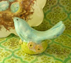 Blue Bird Miniature Porcelain Clay, English Staffordshire Style Figurine
