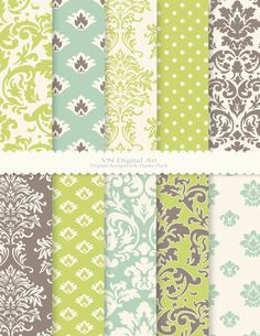 "Damask Digital Scrapbook Paper Pack (8.5x11""-300 dpi) -- Instant Download -- 10 Digital papers -- 189"