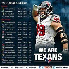 Texans 2013 schedule! 5 national TV games including preseason