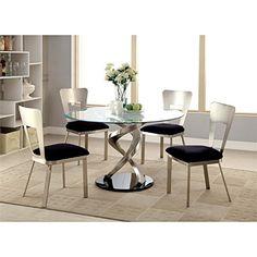 Furniture of America Halliway 5 Piece Round Dining Set in Satin