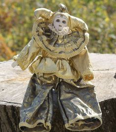 Porcelain Clown Porcelain Doll Clown Doll Vintage French by Diamir Pierrot Clown, Golden Dress, Porcelain Doll, French Vintage, Lion Sculpture, My Etsy Shop, Statue, Dolls, Fabric