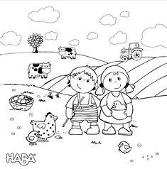 """Das Ausmalbild """"HABA Bauernhof"""" passt gut in die Osterzeit mit den süßem Hennen, Küken und Eiern und kann für die Kinder einfach ausgedruckt werden."""
