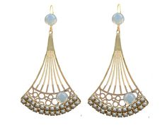 Boucles d'oreilles Art deco dorées et nacre : Boucles d'oreille par l-ecrin-de-loula
