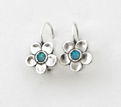 Handcrafted Genuine Shablool Sterling Silver 925, Hanging/ Dangling Earrings Blue Fire Opal, Flower Design