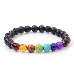 Multicolor tijgeroog amethist zwarte hars lava kralen chakra armbanden polsband armbanden bijoux touw ketting vrouwen mannen sieraden
