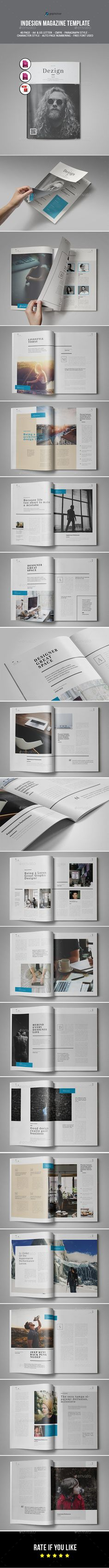 Magazine Template InDesign INDD - 40 Pages, A4 and US Letter Size