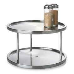 These are convenient for spices and other small cooking items. Double Stainless Steel Turntable
