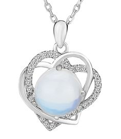 Elensan 925 Sterling Silver Necklaces Love Heart-Shaped Austrian crystal Pendant Necklace Silver Jewelry Fine Jewelry