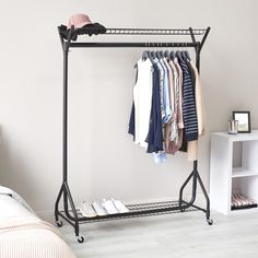 Einrichtung Heavy-Duty Clothes Rail with Top and Bottom Shelf Man Made Diamond: How Is A Diamond Mad Clothes Rail With Shelves, Heavy Duty Clothes Rail, Diy Clothes Rack, Clothes Drying Racks, Hanging Clothes, Temporary Wardrobe, Wardrobe Rail, Hanging Wardrobe, Closet Organisation
