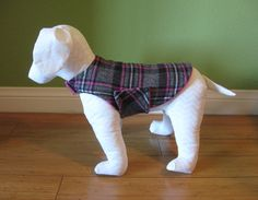 Fleece & Flannel Dog Coat, Extra Small, Pink, Gray, Black, and White Plaid Cotton Flannel with Hot Pink Fleece Lining www.TheThimbleAndHound.com