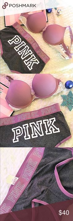 Victoria's Secret pink push-up bar + pantie NWT!!!! Victoria's Secret pink push up bar size C32 boyfriend panties size small PINK Victoria's Secret Intimates & Sleepwear Bras