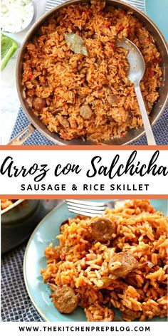 Arroz con Salchicha {Sausage and Rice}! This slightly modernized take on a classic Cuban comfort food is the type of meal that becomes a staple when you're looking for easy weeknight dinner ideas! It's a one skillet meal that will appear on the menu again and again. AD #TasteofHome @alfrescochicken