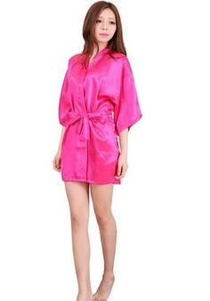 9669550763  EBay  Women Silk Satin Short Night Robe Solid Kimono Robe Fashion Bath Robe  Sexy