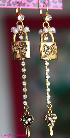 Betsey Johnson Jewelry - Long Gold Tone Iconic Collection Locks
