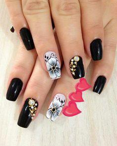 Black Nail Designs, Simple Nail Art Designs, Beautiful Nail Designs, Acrylic Nail Designs, Fabulous Nails, Gorgeous Nails, Pretty Nails, Pink Gel Nails, Toe Nails