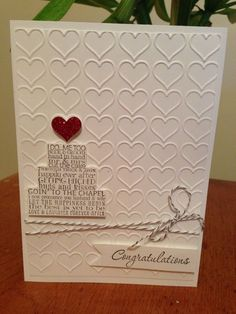 17 ideas wedding card handmade marriage stampin up for 2019 Homemade Wedding Cards, Wedding Cards Handmade, Homemade Cards, Wedding Gifts, Wedding Shower Cards, Wedding Congratulations Card, Wedding Anniversary Cards, Handmade Anniversary Cards, Engagement Cards