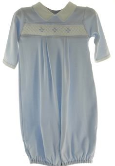 Hiccups Childrens Boutique - Baby Boys Blue Smocked Convertible Gown