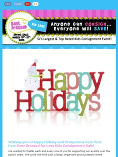 Our 2014 Holiday Message includes some exciting news! BDFL will be holding THREE kids consignment events in 2015!