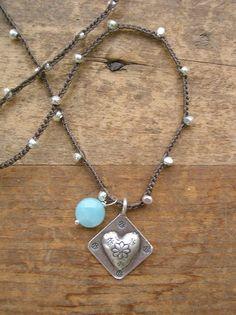 Dainty silver charm necklace Trinkets crochet by 3DivasStudio