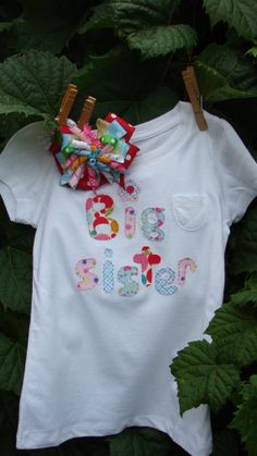 Big Sister shirt and matching hair bow by JustForKidsBoutique, $23.98