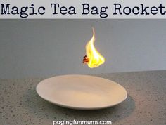 Tea Bag Rocket Magic Tea Bag Rocket - awesome Science Experiment for kids!Magic Tea Bag Rocket - awesome Science Experiment for kids! Summer Science, Science Party, Preschool Science, Science For Kids, Science Activities, Activities For Kids, Science Classroom, Indoor Activities, Science Education
