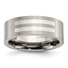 Chisel Titanium Flat 8mm Sterling Silver Inlay Band (Finger Size 12.5), Men's, Two-Tone (satin)